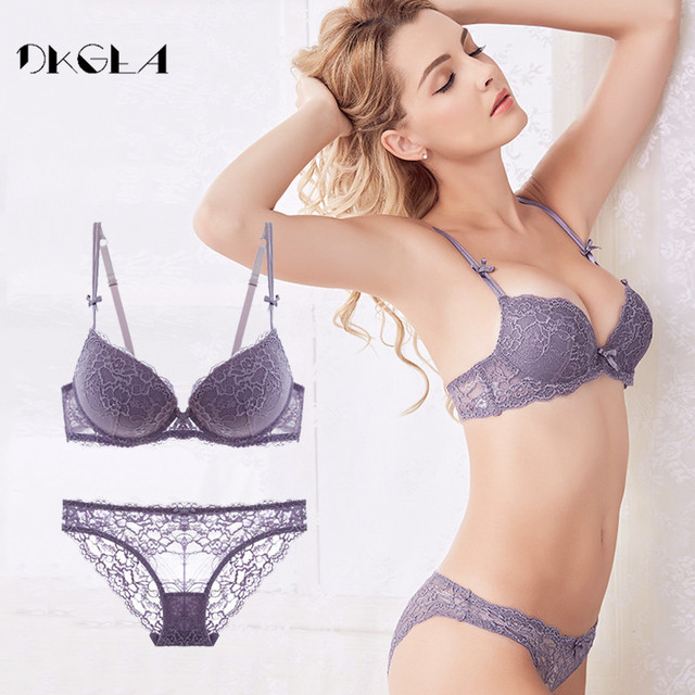 1b456a10d3 Fashion brand women underwear set cotton sexy bra and panty sets plus size  purple lace lingerie set push up set 3 4 cup Padded