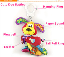 TOP! Baby Rattles hanging Ring Dog Teether Paper sound Cute Animal Infant Baby 35cm Stroller Toy Plush Newborn Bed Dog Play Doll
