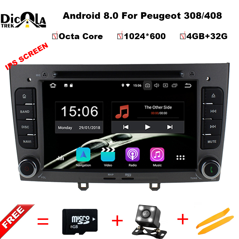 7 pouce 1024*600 Octa Core Android 8.0 4g RAM 32 GROM Multimédia Lecteur dvd de Voiture Pour Peugeot 308 408 avec wifi radio GPS BT RDS
