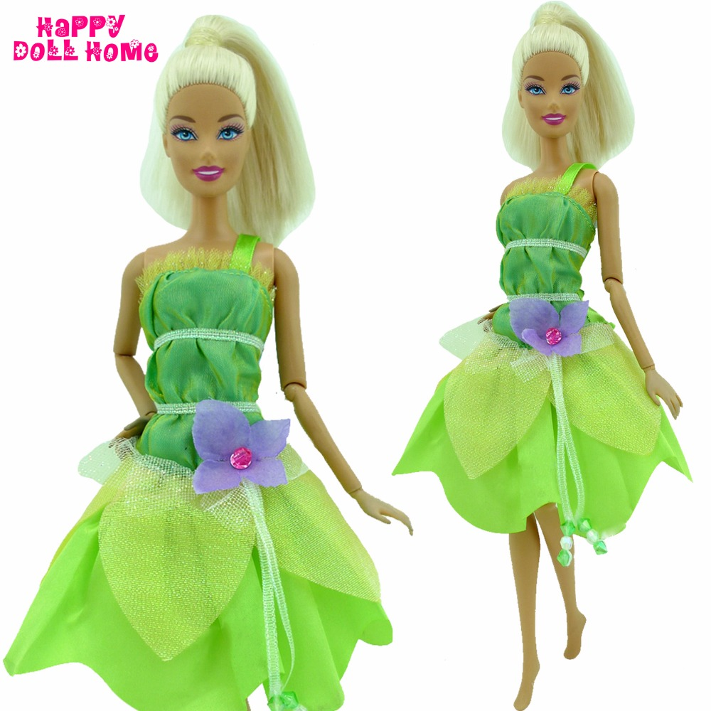 Cute Dress Princess Outfit Green Fairy Tale Clothing With Flower Beads Clothes For Barbie FR Kurhn Doll Dollhouse Kid Toys Gift