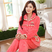New women Autumn/winter thickening flannel Turn down Collar pajamas sets Fashion sweet female girl sleepwear Indoor Clothing