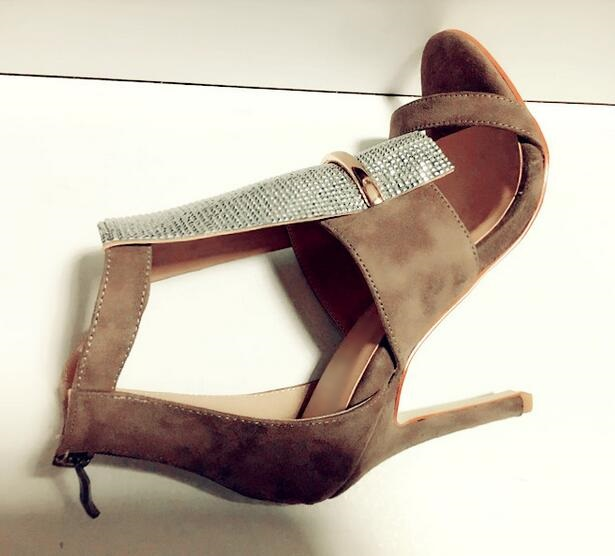 Real Photo Newest 2017 Beige Suede Leather Cut-out Crystal Front High Heel Sandals Back Zipper Women Cage Shoes Thin Heel hot selling crystal summer dress shoes black pink beige suede leather ankle strap cut out sandals high heel t bar real photo