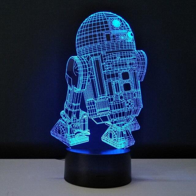 Novelty 3D Night Light LED Bedside Lamp Table Desk Lampe Cool Star Wars R2D2  Robot Lamparas