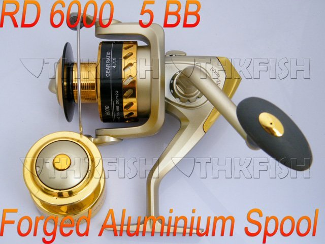 New Arrival!! 6Pcs Pack 5BB 5.1:1 HUIHUANG RA6000 Fishing Reels Alumminum Spool Rear Drag