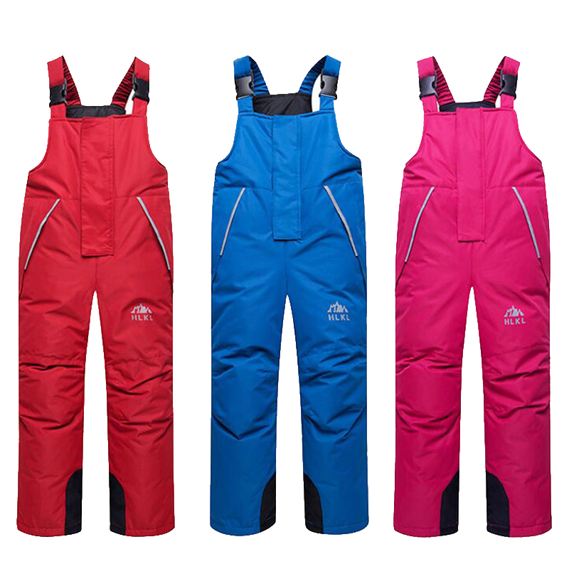 Winter 2019 Children Overall Boys and Girls Ski Pants Waterproof and Windproof Kids Down Bib Pants Warm Trousers Overalls Winter c4520 brand autumn winter children patchwork keep warm trousers kids boys girls windproof waterproof sport children pants