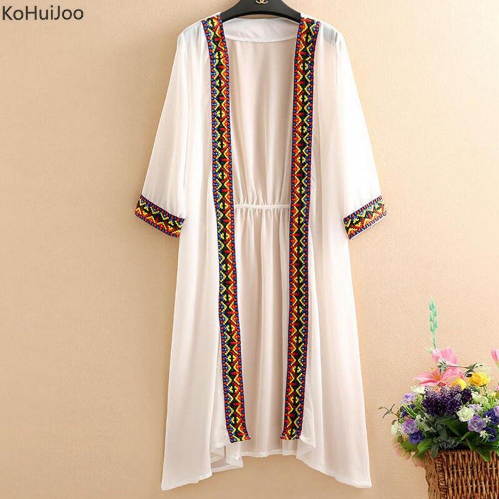 Camisa Playa Up Boho Abrigo Cover Chaqueta blanco azul Verano Mujeres Kimono Vintage Negro Gasa Impresión Tamaño Más Bikini Kohuijoo Cardigan 86qZBB