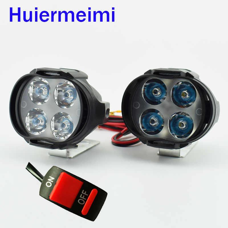 Huiermeimi 1pair Motorcycle Led Headlight Moto Headlamp Spotlight 12V 6500K Motorbike fog Spot Head Light Decorative Lamp switch