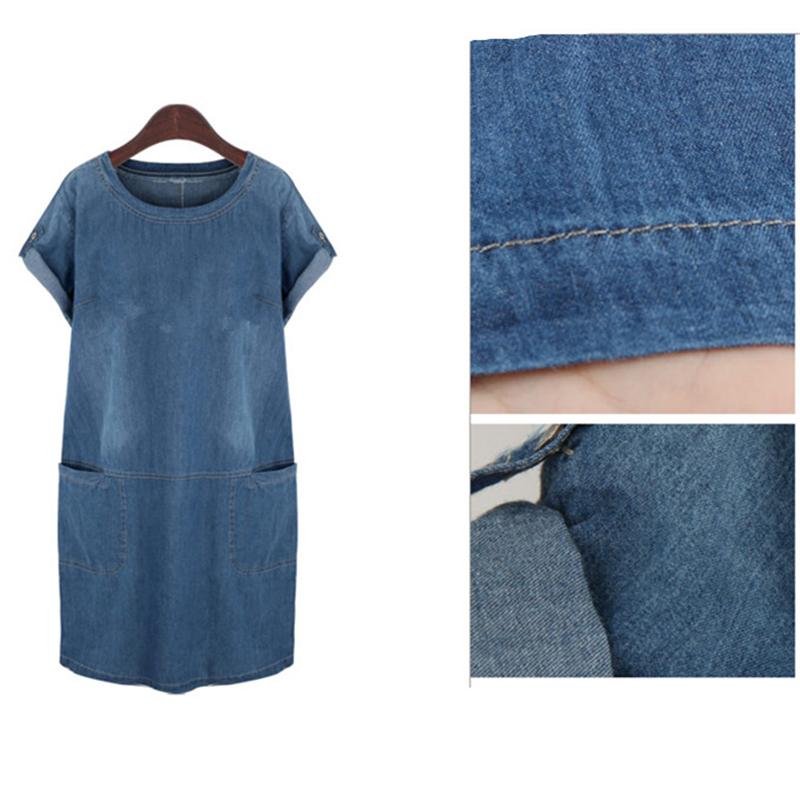 Denim Dress 2017 Summer Plus Size 4XL 5XL Ladies Short Sleeve Casual Stright Fashion Dresses vestidos mujer jeans feminino robe (4)