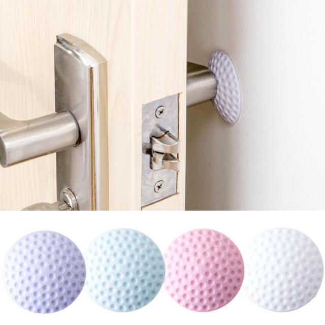 2Pcs/set Door Handle Bumper Guard Stopper Rubber Silencer Crash Pad Home Office Practical Self Adhesive Round Wall Protector