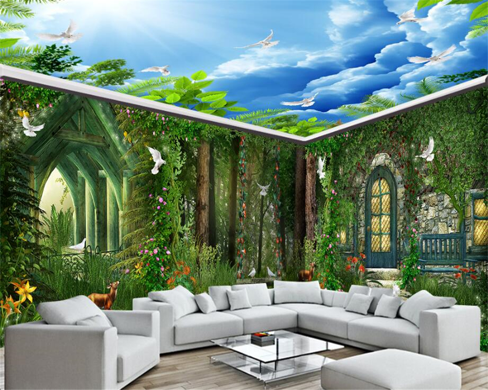 Beibehang Beautiful Fashion Silk Cloth 3d Wallpaper Forest