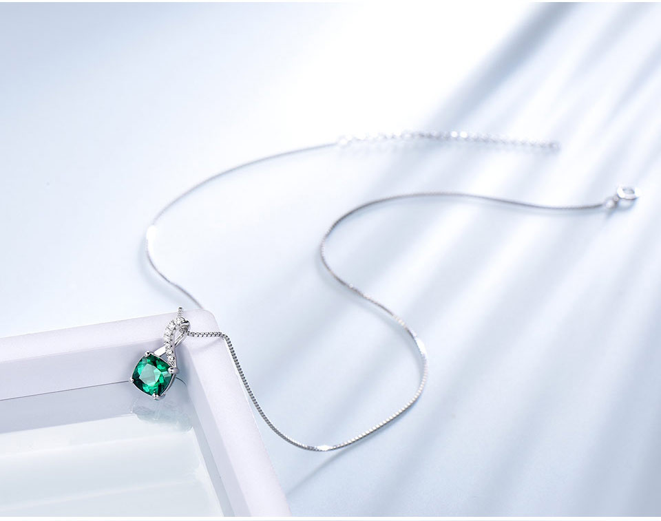 UMCHO Emerald 925 sterling silver jewelry sets for women S027E-1 pc (8)