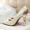 Сексуальные Психического Пятки Женская Обувь Из Замши или Блестящие кожи На Высоких Каблуках Женщины Насосы Цветок Металла Пятки Stiletto 9 цвета
