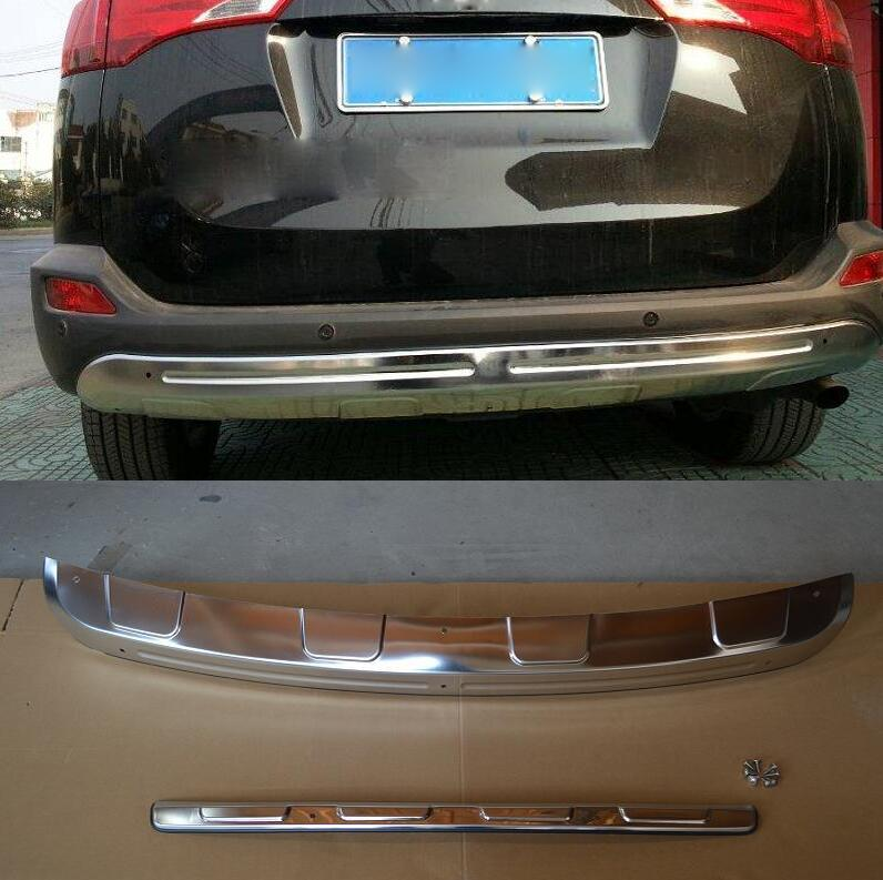 case For Toyota RAV4 2013 2014 2015 High Quality stainless steel + Rear Bumper Protector Guard car styling