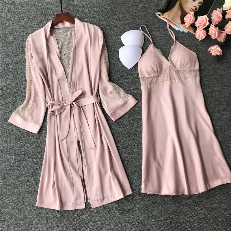 Sexy Women's Faux Silk Nightgown Solid Night Dress Gown Summer Casual Nightshirts Sleepwear Loose Nightdress One Size WR031