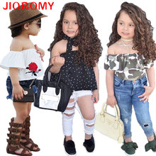2017 New Summer Style Children Clothing Set Outfit Casual Girls Clothes Fashion Tank Tops + Denim Shorts Kids Clothing Set