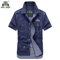 Free Shipping Plus SizeM 5XL Summer Men S Cotton Denim Dress Shirts Color Short Sleeve Shirts