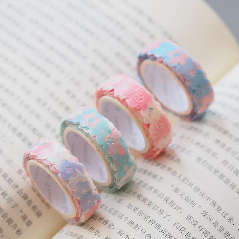 1 Pcs Lovely Hollow Flower Petals Cherry Sakura Collage Washi Tape Decorative Masking Tape Scrapbooking Stationery Label Sticker