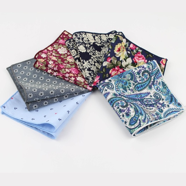 Hankerchief Scarves Vintage Cotton Hankies Men's Pocket Square Handkerchiefs Rose Flower Paisley