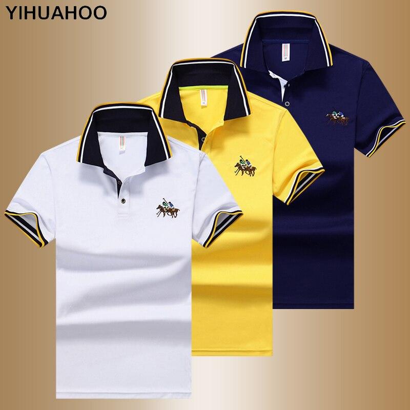 YIHUAHOO Polo Shirt Men High Quality Men Cotton Short Sleeved Summer Shirt Brand Jerseys Polos Para Hombre Size M-4XL JCP-631
