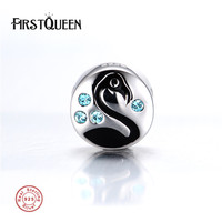 FirstQueen High Quality Swan Enamel Charms Beads 100% Real 925 Silver Fits Bracelet perles pour la fabrication de bijoux