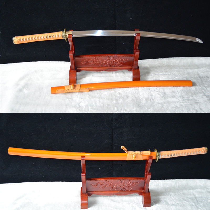 Ručně vyráběný žlutý saya Japonský samuraj Katana Swords1060 Carbon Steel Sharp Blade full tang