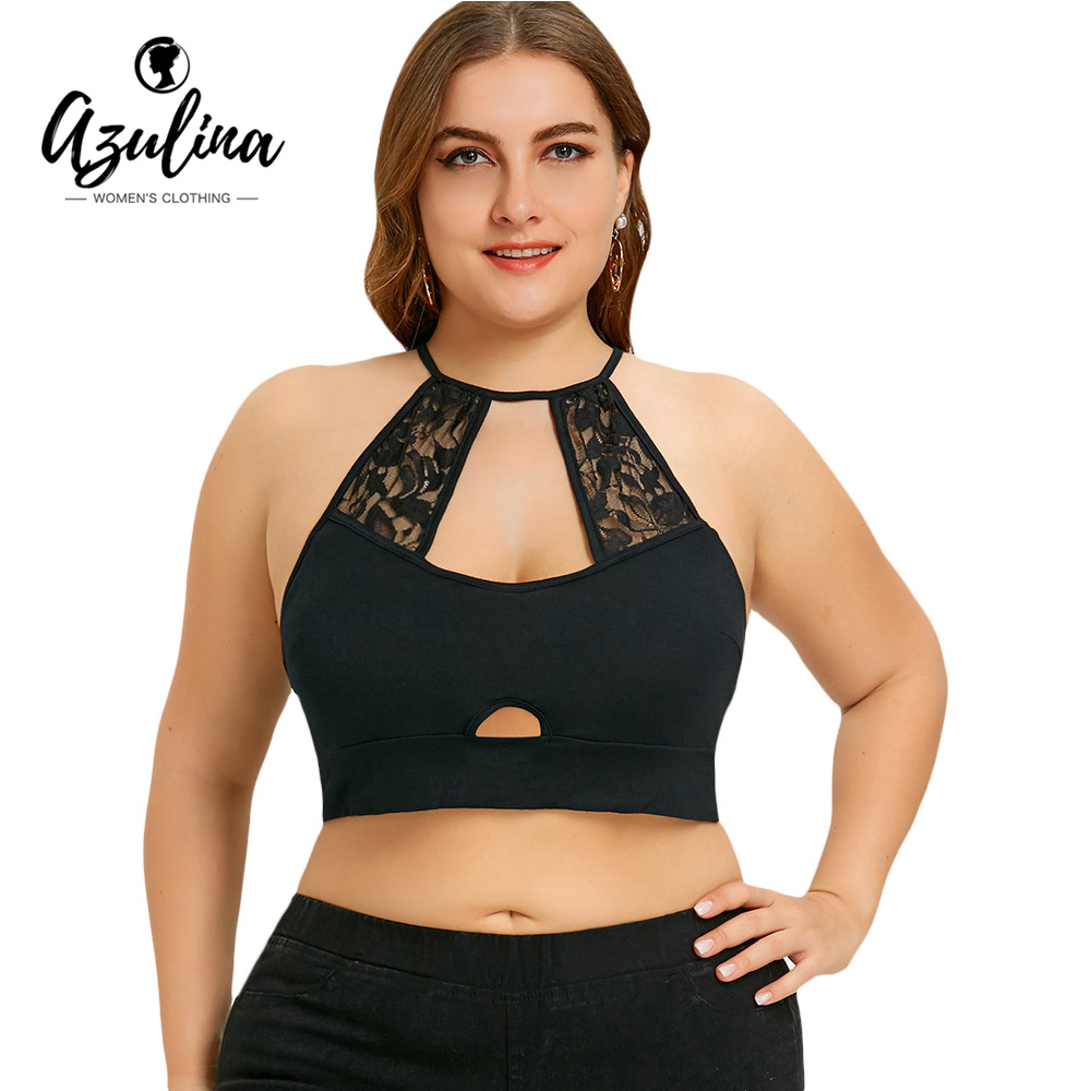 AZULINA Plus Size Tank Top Women Sexy One-Piece Lace Trim Cut Out Camisole Crop Top Black Red Womens Tops Woman Clothes 5XL