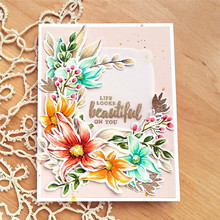 Eastshape Spring Frame Bloom Flower Metal Cutting Dies and Clear Stamps for Scrapbookin Embossing DIY Gift Card Die