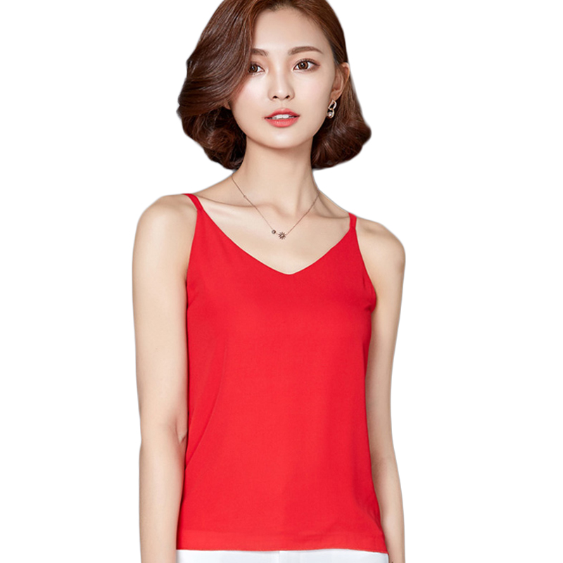 High Quality 5 Color Sexy Tank Top Women Chiffon Sleeveless Vest Tops Summer Ladies V-neck Camis Fashion Tank Tops 2017 New G736