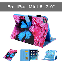 New Case for iPad mini 5 hard back Flip smart stand cover pu+tpu Printed case For Apple Ipad mini 5 7.9 inch Can insert cards недорого