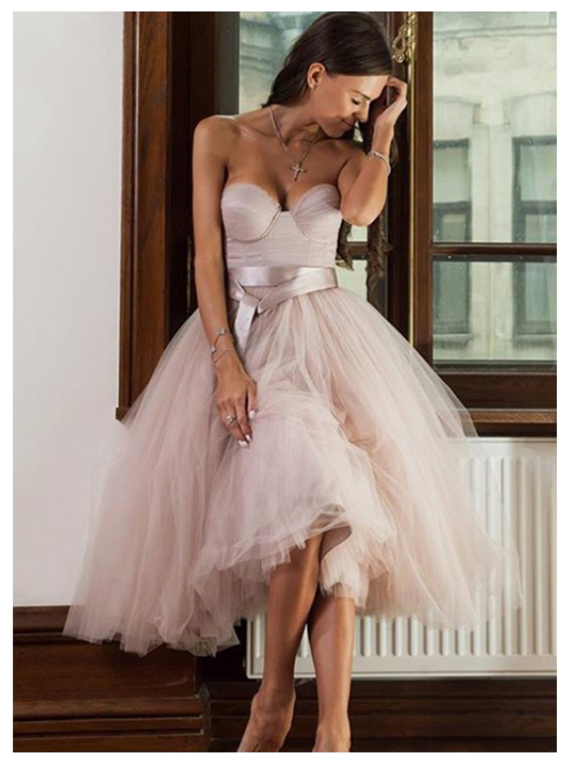 Short Informal Strapless Wedding Dress 2019 Beach Bride Dress Knee Length Hot Sale Pink Tulle Wedding Gowns