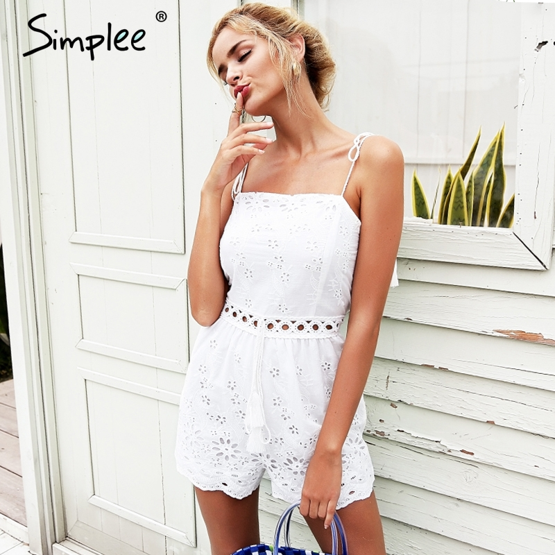 Simplee Strap cotton embroidery white rompers Womens   jumpsuit   tassel crochet sexy playsuit Summer high waist macacao feminino