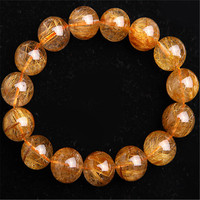 15.5mm Genuine Natural Copper Hair Rutilated Quartz Crystal Big Round Beads Bracelet Stretch Charm Fashion Women Men Bracelet
