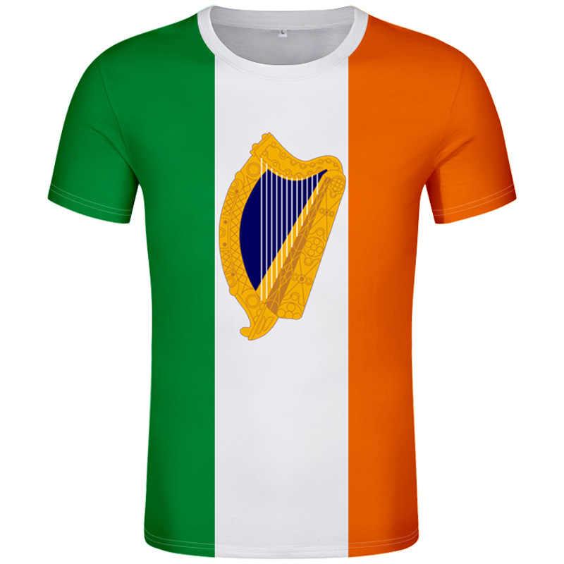 IRELAND футболка, сделай сам, Бесплатная, на заказ, с номером имени irl, футболка с национальным флагом, ie, в Ирландском стиле, с принтом колледжа, фото, логотип, одежда
