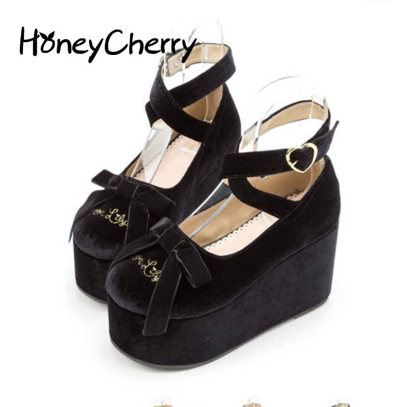 The Japanese Dream Looking Shoes Shallow Mouth Round Cross Straps Muffin Bottom Bow Soft Sister Doll Shoes Black Shoes lolita mori girl japanese cute bow buckle students single shoes school uniform jk leather shoes cross straps lolita princess shoes page 3