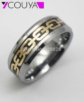 New Arrival 18K Gold Plated Tungsten Ring In Comfort Fit Wedding Bands For Mens Jewelry 8mm