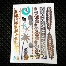Summer Style Girl Women Henna Gold Metallic Flash Tattoo Stickers Girls Fake Waterproof Tattoo Golden Color Bracelets Leg Tatoos