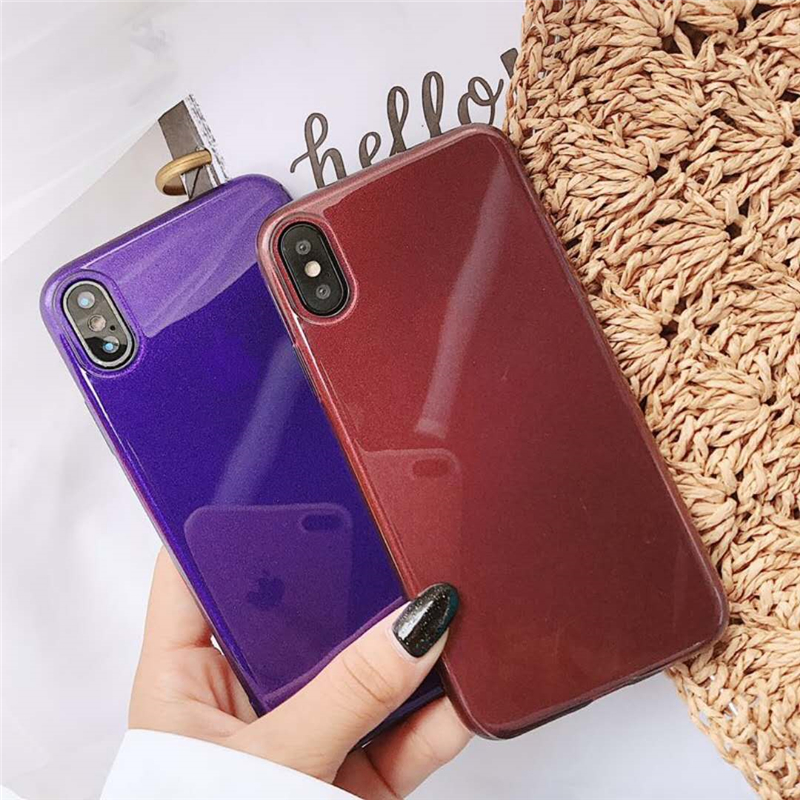 Ins Phone Case For iPhone X 8 7 6 5 SE Case Glossy Glitter Soft TPU Cover For Huawei P20 Lite Samsung S9 S8 Redmi Note4X Xiaomi6