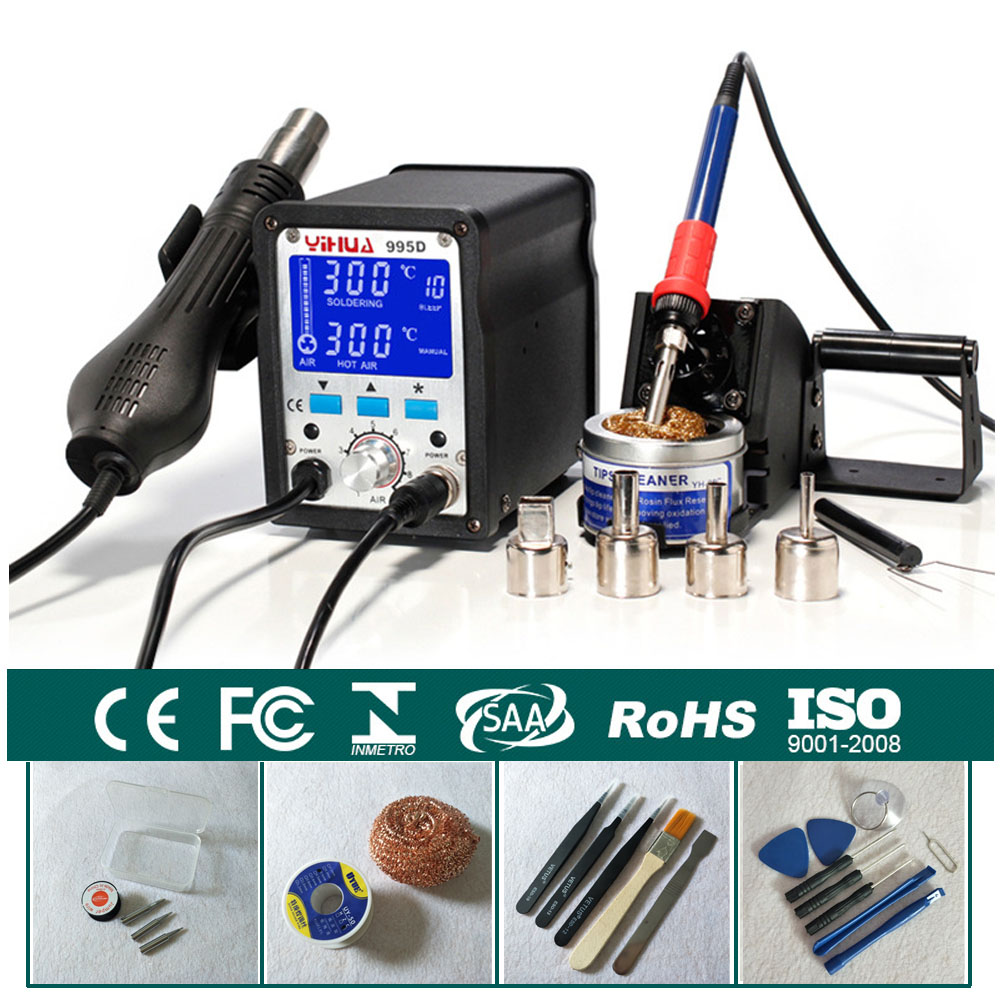 2 In 1 Solder Heat Rework Station Soldering Iron Hot Air Gun Motherboard Desoldering Welding Repair 110V / 220V YIHUA 995D yihua soldering station 995d hot air gun soldering iron motherboard desoldering welding repair 110v 220v 2 in 1 electric iron
