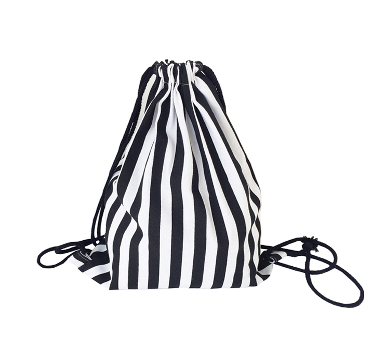 Original hand made retro black and white striped shoulder bag canvas rafts simple canvas backpack