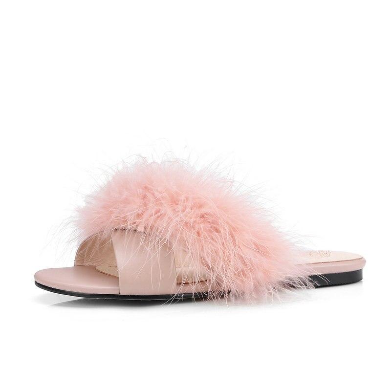Nouveau Furry pantoufles femmes confortable en peau de mouton chaussures d'été femme en cuir plat sandales noir rose abricot