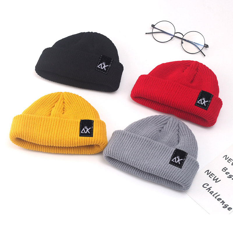 Tag Skull Cap  High Quality Unisex Cap All Match Fashion Hats Knitted Stretchy Design Cap Men's Decor Accessory