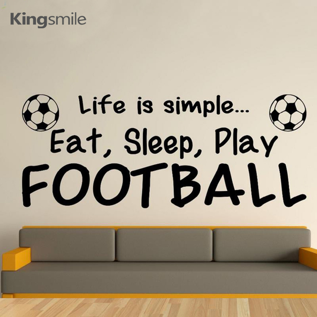 Sports Life Quotes Inspiration Football Decals Life Is Simple Eat Sleep Play Quotes Wall Sticker