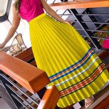 Летняя Повседневная Женская плиссированная юбка в ретро стиле средней длины с натуральной талией желтого и зеленого цвета на выбор