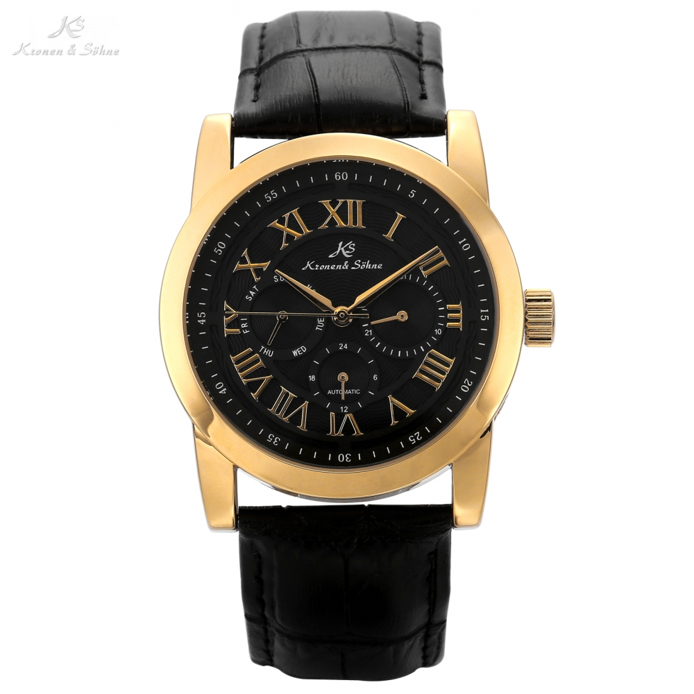 KS Imperial Roman Golden Case Mens Day Date Clock Relojes Hombre Automatic Mechanical Relogio Leather Strap Wrist Watch /KS326