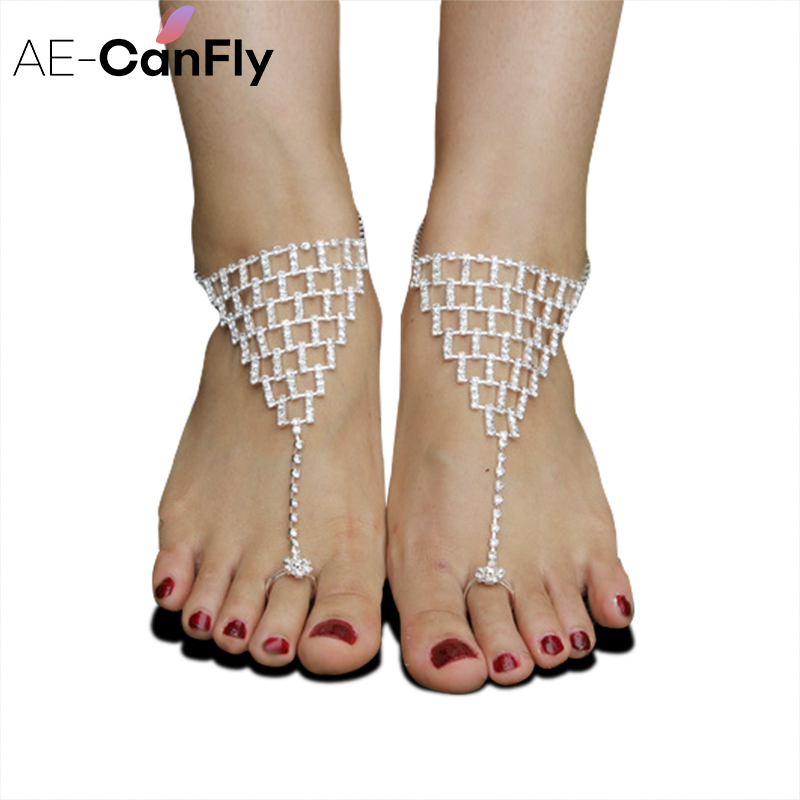 AE-CANFLY Fashion Triangle Net Barefoot Sandals Brilliant Rhinestone Ankle Bracelet Anklets for Women 1PC 1K4013
