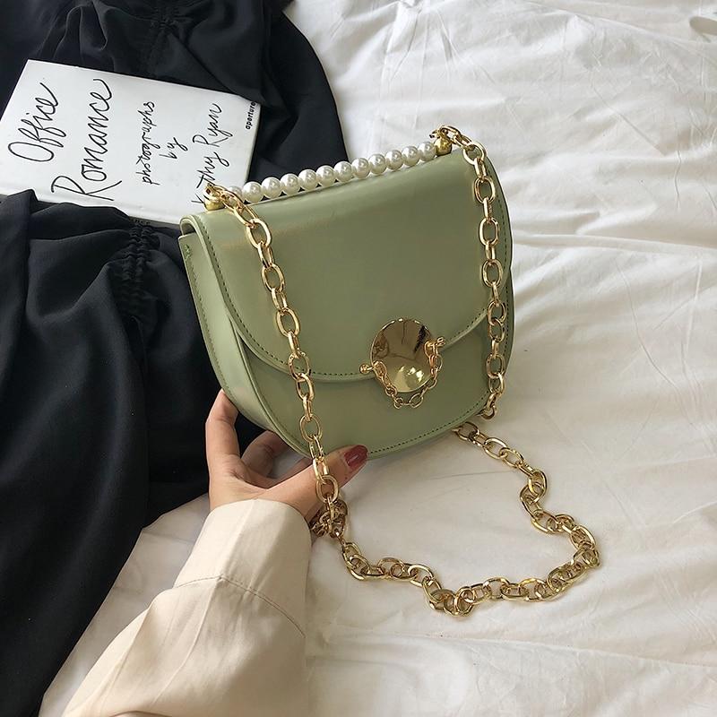 Summer Saddle Bag  PU Leather Flip Bag Women's Designer Handbag Pearl Lock Chain Shoulder Messenger Bags