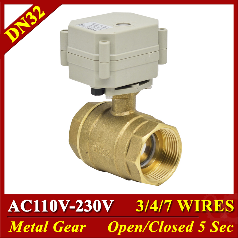 Brass 2 Way 11 4 motorized ball valve 29mm bore AC110 230V 3 4 7 wires