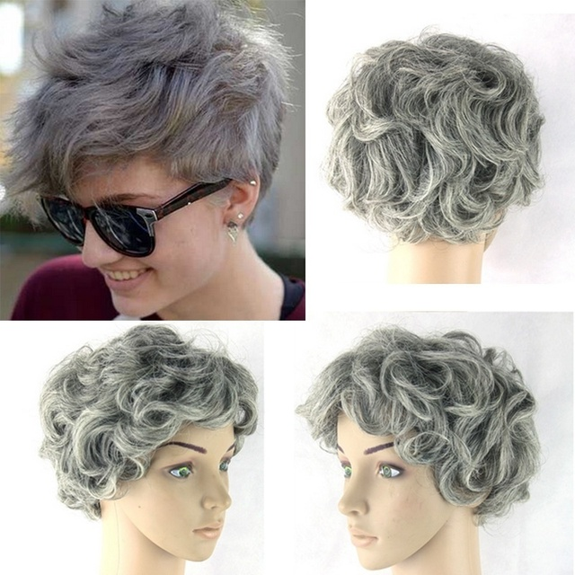 2018 Unisex Synthetic Hair Full Wig Party Cosplay Grandma Light Gray Short Curly Grey Capless Hairpiece In Boys Costumes From Novelty Special Use On
