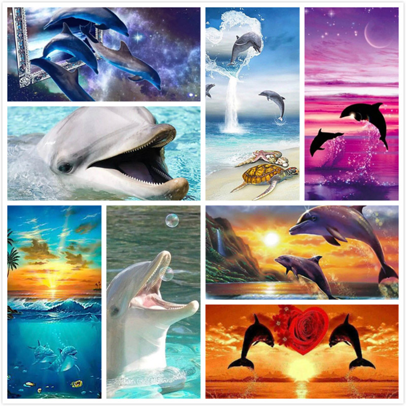 NEW Diamond Painting Dolphin Full Square/Round Diamond Embroidery Animal Pictures Of Rhinestones Diamond Mosaic Home Decoration