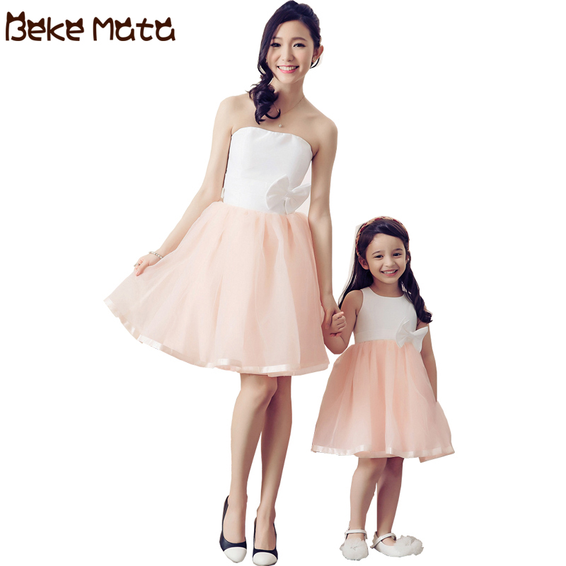 Mother Daughter Dresses Party Mommy And Me Clothes Bow Down Family Look Mother Daughter Wedding Evening Family Matching Outfits
